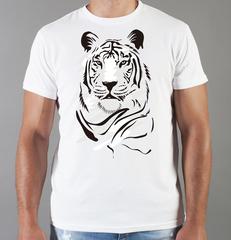 Футболка с принтом Тигр (Tiger) белая 003