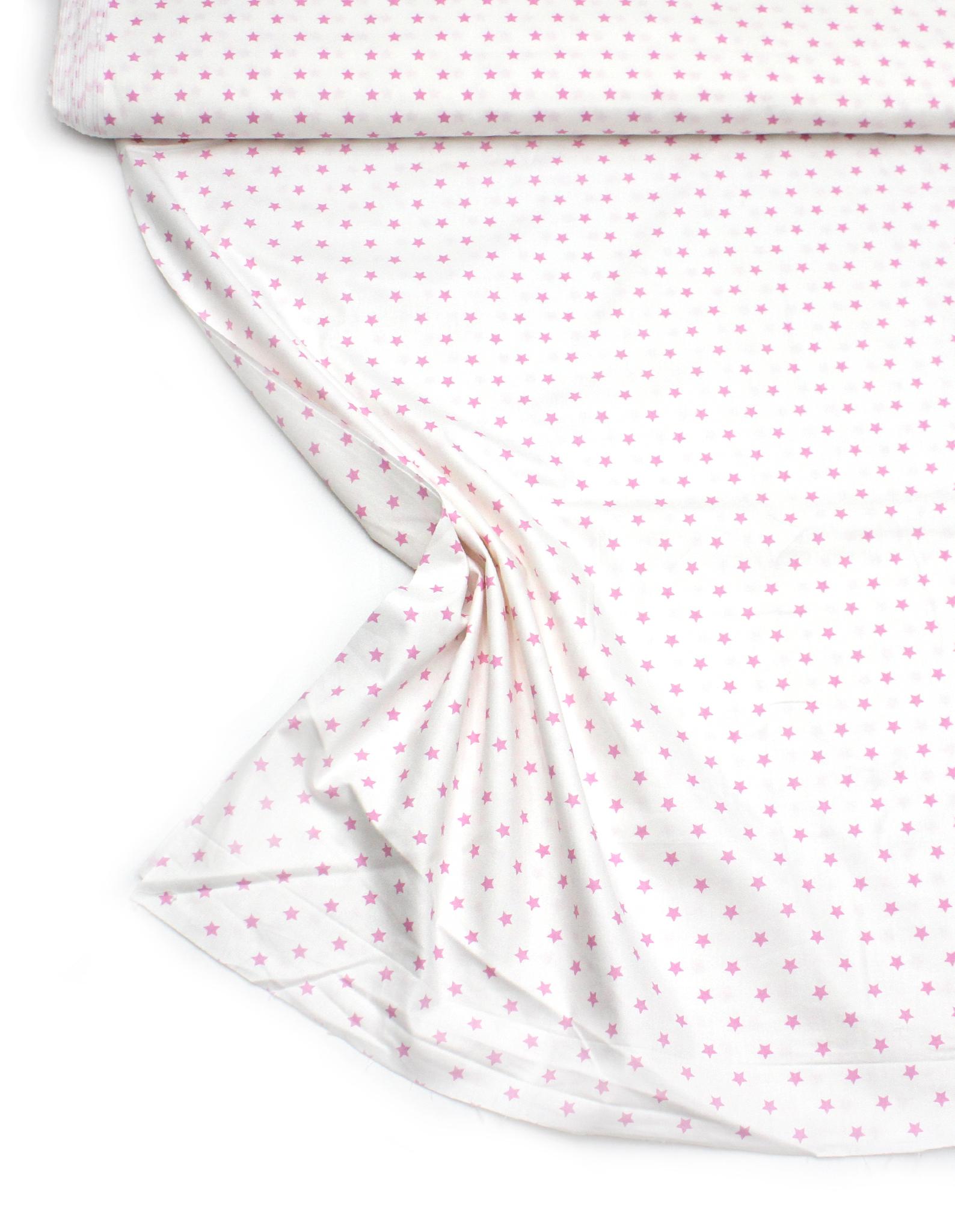Звезды розовые на белом,10 мм