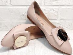 Балетки летние кожаные слиперы женские Wollen G192-878-322 Light Pink.