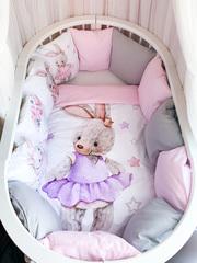 Бортики для кроватки с одеялком «Вязаный зайка»