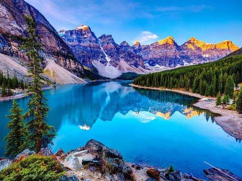 Алмазная Мозаика + Багет 40x50 Река в горах