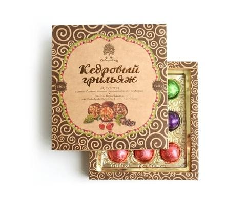 Кедровый грильяж ассорти / яблоко, шишка, черемуха / 120 г