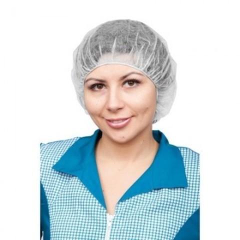 Шапочка Берет одноразовая белая (100 штук в упаковке)