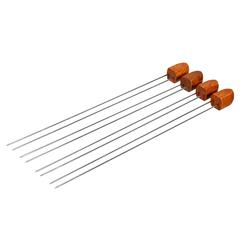 Набор двойных шампуров 38 см с деревянными ручками, 4 штуки