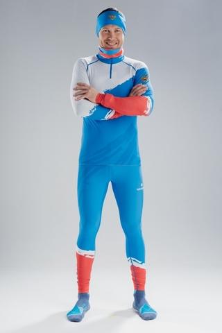 Лыжный комбинезон раздельный гоночный Nordski Premium Blue Rus