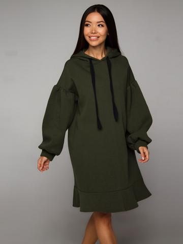 Платье-худи оливковое с начесом YOS