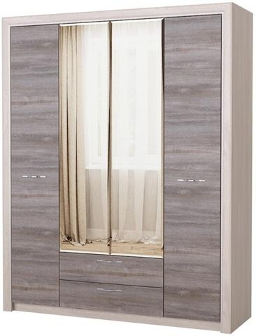 Шкаф Октава с зеркалом 4С2Я серый