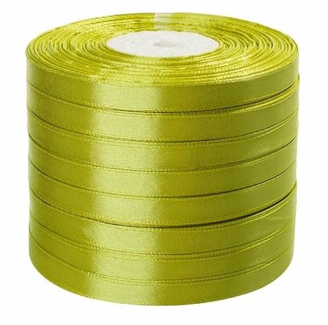 Лента атласная (размер: 10 мм х 50 ярд)  Цвет: салатовая
