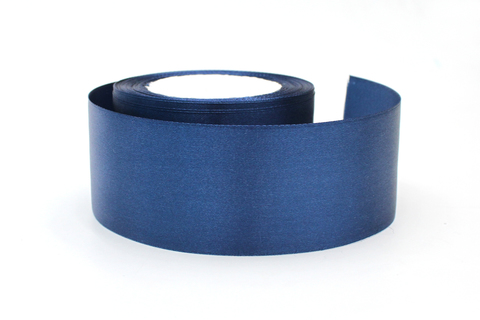 Лента атласная,5 см, т.синий