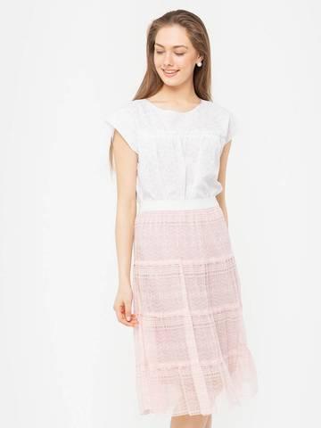Фото розовая юбка расклешенного силуэта на резинке с кружевом - Юбка Б104-607 (1)