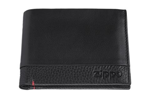 Портмоне Zippo с защитой от сканирования RFID, черное, натуральная кожа, 11,5×2×9,5 см