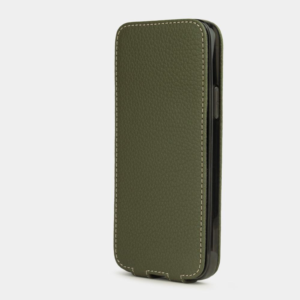 Чехол для iPhone 12/12Pro из натуральной кожи теленка, зеленого цвета
