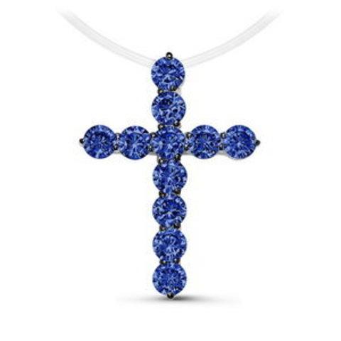 с070291- Крест из серебра с сапфировыми цирконами на леске-невидимке (большой)