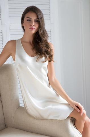 Сорочка Mia-Mia натуральный шелк молочный, синий
