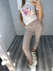 зауженные брюки в полоску nadya