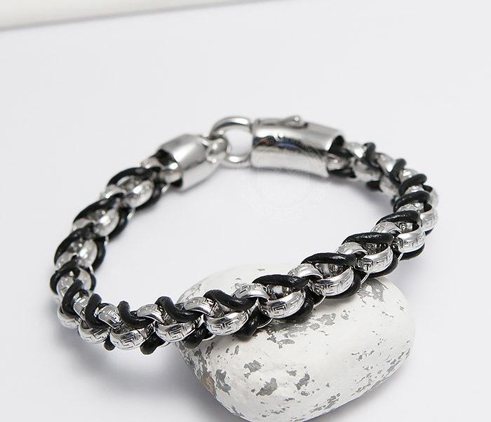 BM491 Мужской браслет цепь с необычными звеньями (22 см) фото 06