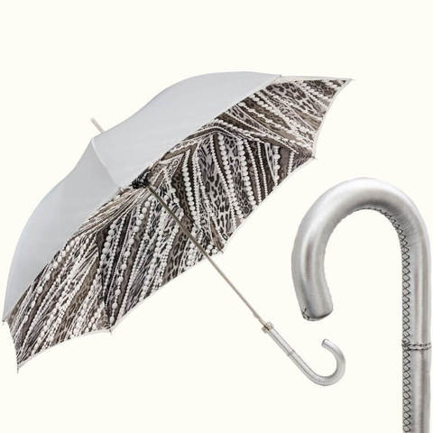 зонт жемчужный с кожаной ручкой