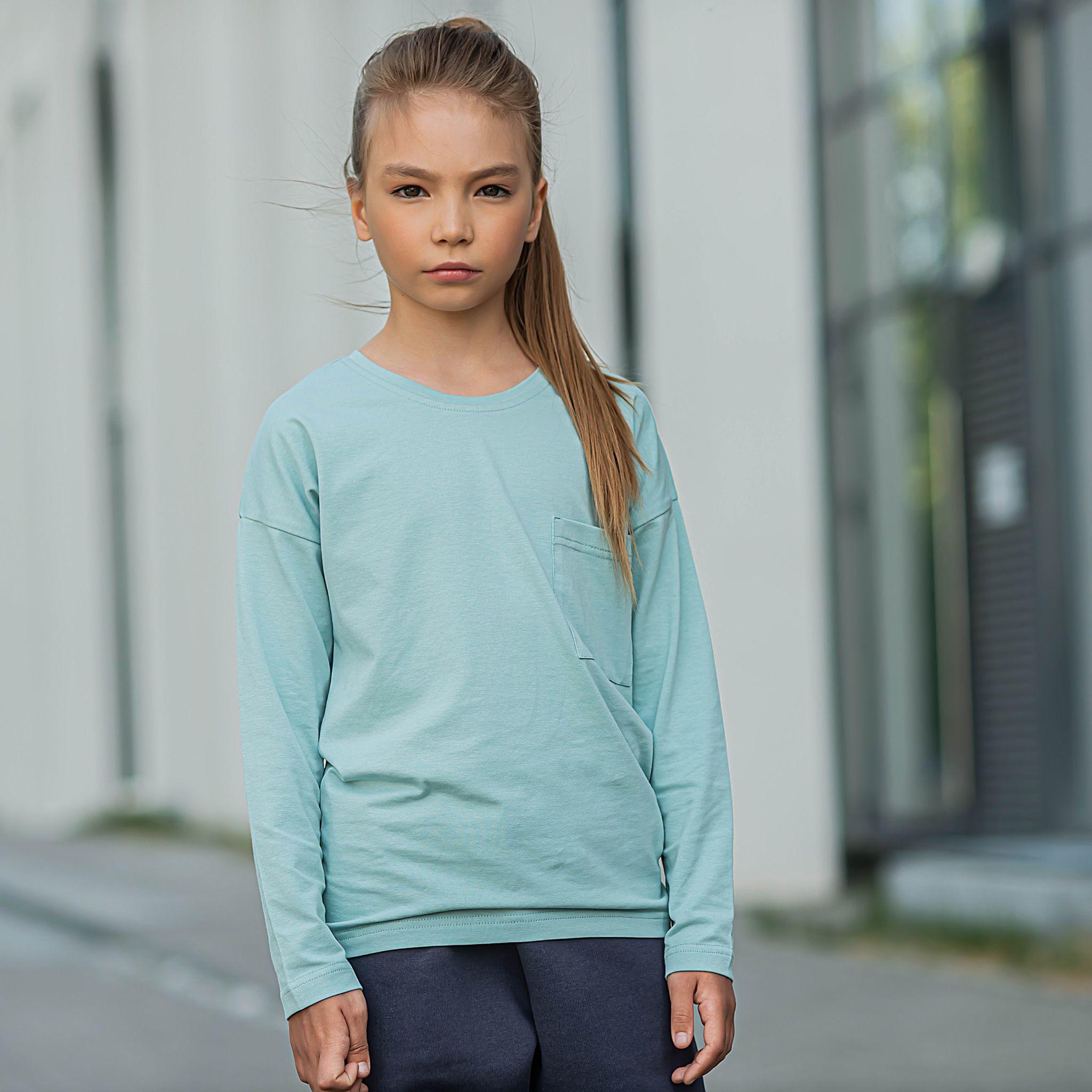 Basic long-sleeved T-shirt for teens - Sea Blue