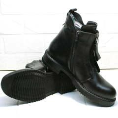 Модные осенние ботинки женские натуральная кожа Tina Shoes 292-01 Black.