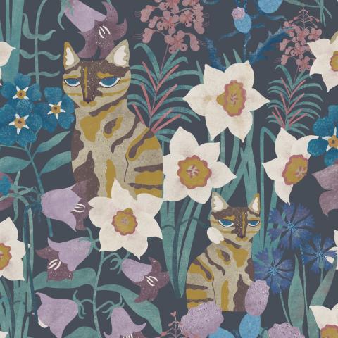 Трёхцветная кошка и полевые цветы на тёмном