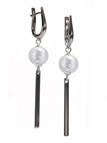 Серьги длинные с бусиной на серебряных швензах Perla Snello Cristal Silver