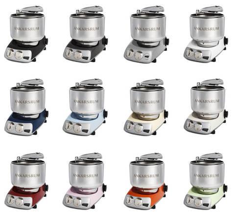 Кухонные комбайны-тестомесы на 5 кг теста Ankarsrum, варианты цвета корпуса