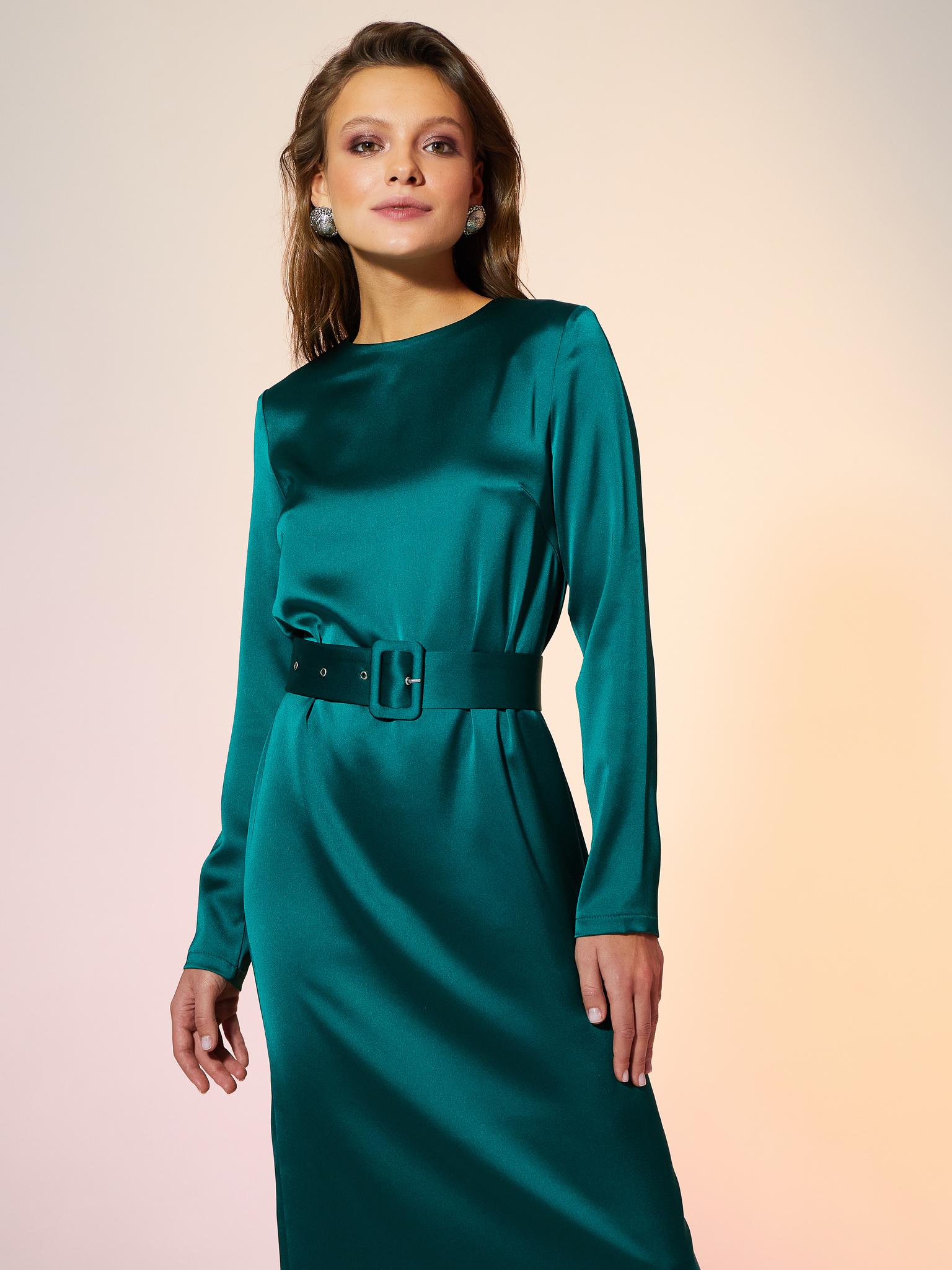 Платье миди с поясом (изумрудный)