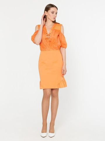 Фото летняя оранжевая юбка прямого кроя с воланами - Юбка Б794-702 (1)