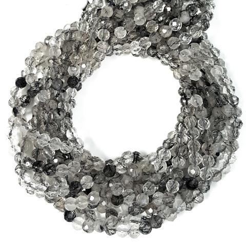 Бусины рутиловый кварц черный A граненый 3,8 мм цена за 52 бусины (~19 см)
