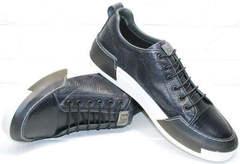 Мужские туфли кеды из натуральной кожи демисезонные Luciano Bellini C6401 TK Blue.