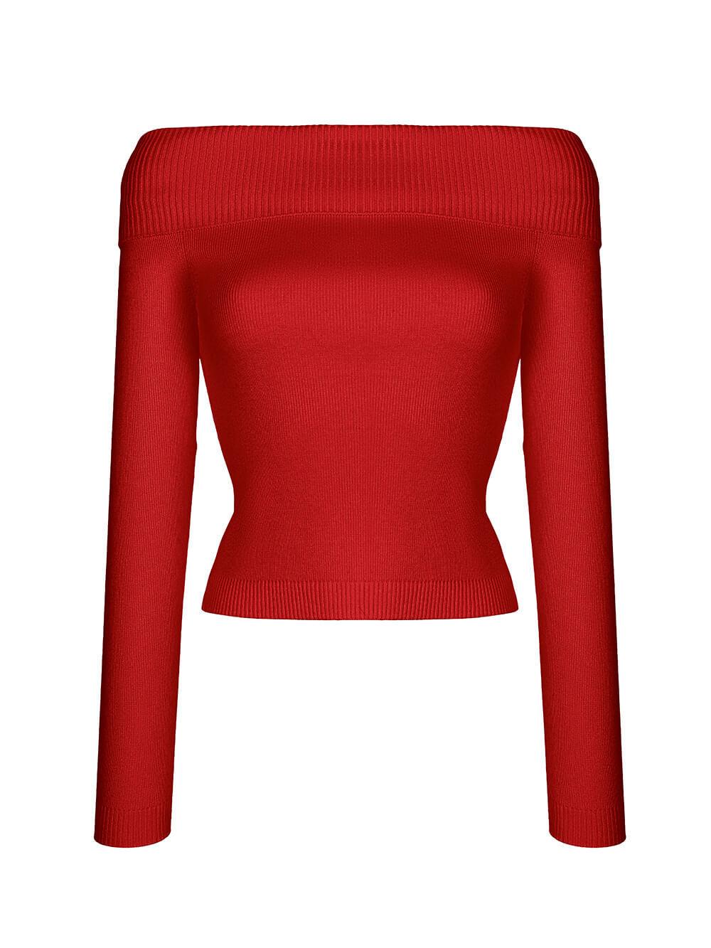 Женский джемпер красного цвета из шелка и кашемира - фото 1