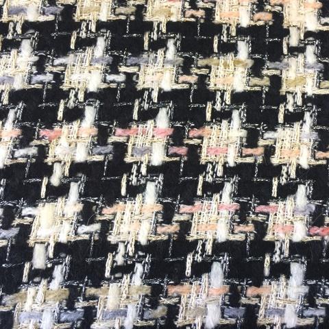 Ткань твид клетка  черно-белая 3128