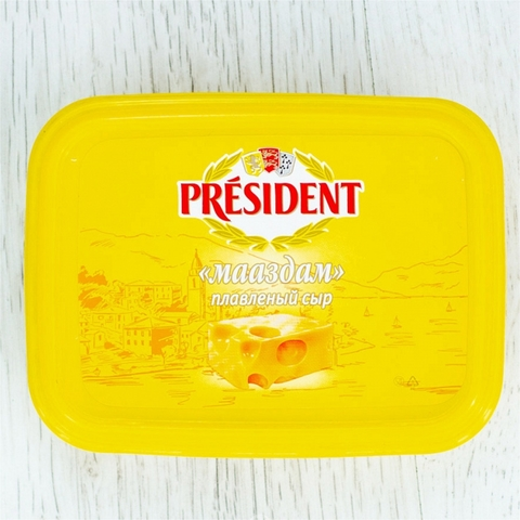 Сыр плавл PRESIDENT Мааздам 45% 200 гр ванн РОССИЯ
