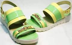 Модные сандали для девушек Crisma 784 Yellow Green.