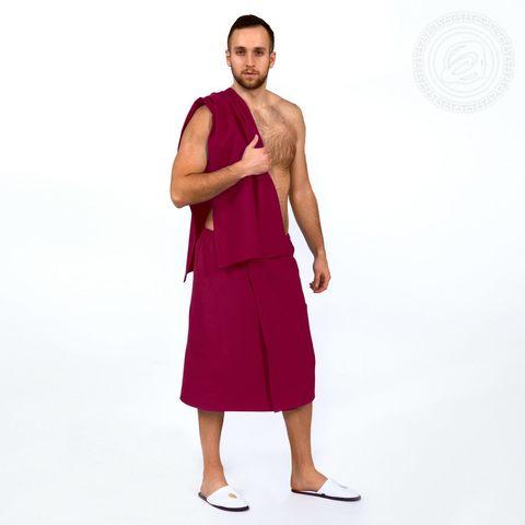 Набор для бани и сауны мужской бордо вафельное полотно