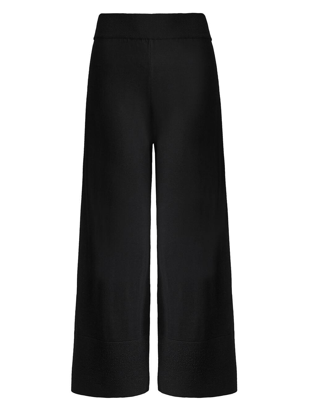 Женские брюки-клеш черного цвета из шелка и вискозы - фото 1