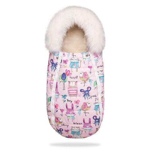 Зимний конверт для новорожденного на выписку и прогулку Baby XS Рисунки на Розовом фоне с Опушкой