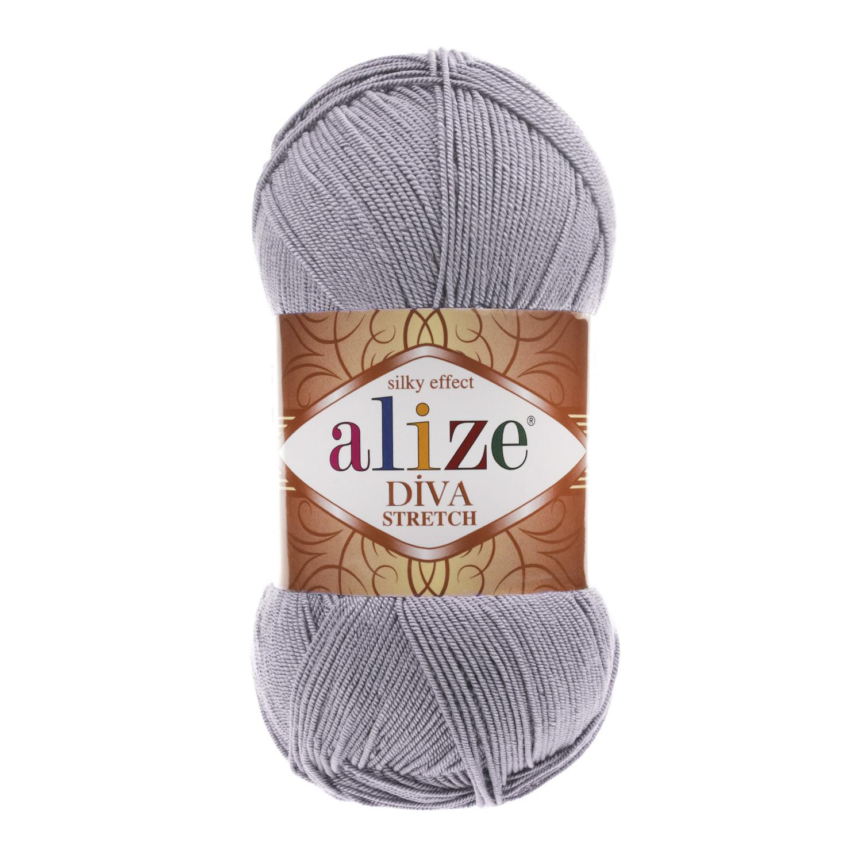 Пряжа Alize Diva Stretch светло-серый 253