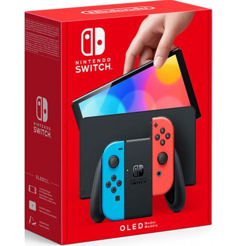 Игровая консоль Nintendo Switch (OLED-модель, цвет неоновый красный / неоновый синий)