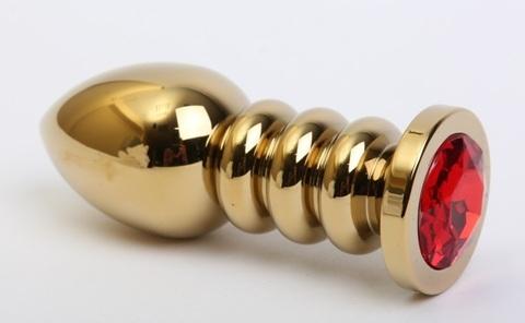 Пробка металл фигурная золото с красным стразом 10,3х3,8см 47424-2MM