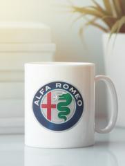 Кружка с рисунком Альфа Ромео (Alfa Romeo) белая 005