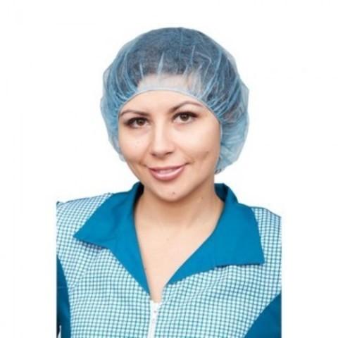 Шапочка Берет одноразовая голубая (100 штук в упаковке)