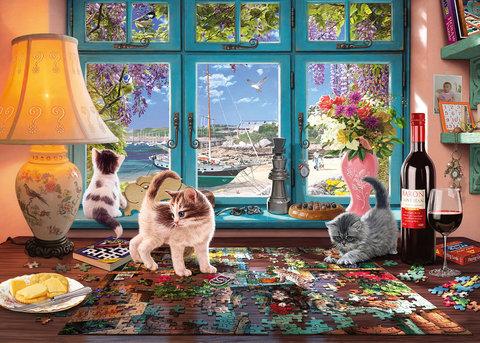Алмазная Мозаика 40x50 Котики и пазлы