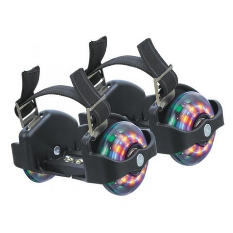 Мини-ролики раздвижные для обуви, светящиеся колеса. Цвет черный, розовый