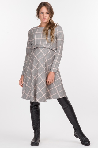 Платье для беременных и кормящих 11013 черно-розовый/клетка