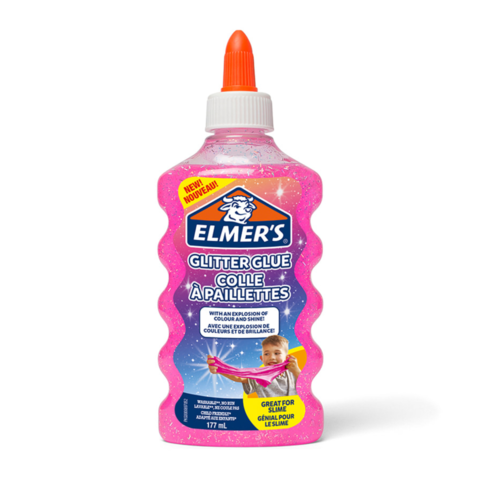 Клей для слайма Elmer's Glitter Glue блестящий розовый 177 мл