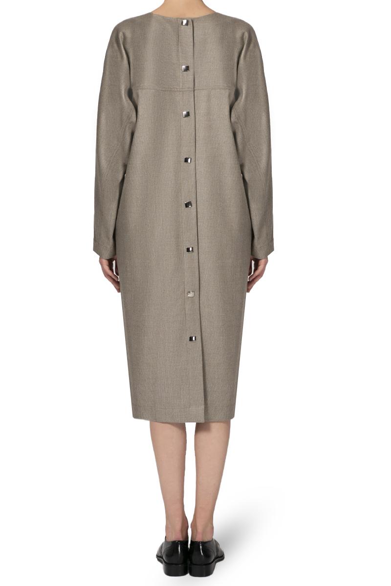 Платье с кнопками на спине шерстяное, беж