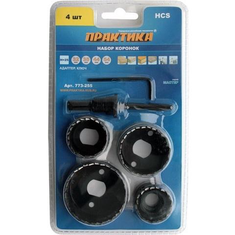 Набор HCS коронок ПРАКТИКА  4 шт 32, 35, 44, 54 мм + адаптер (773-255)