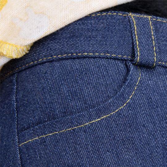 Пес Ваксон в джинсах и желтой рубашке