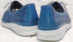 Кожаные женские кеды кроссовки модные летние кэжуал стайл Wollen P029-2096-24 Blue White.